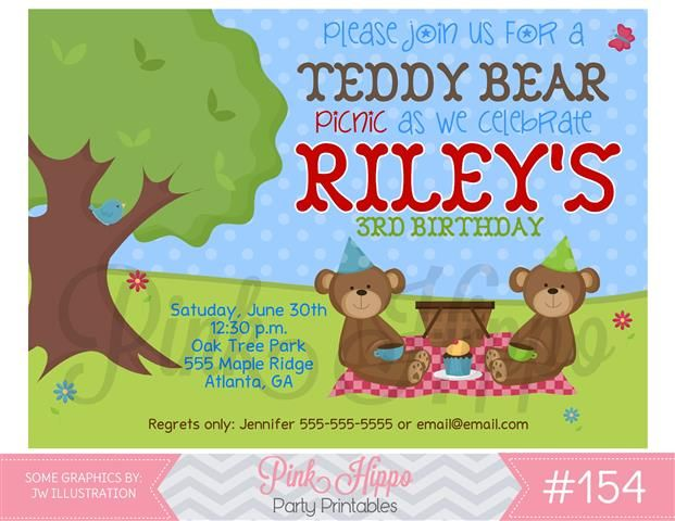 InvitationTeddy Bear Picnic Invitations Pinterest Teddy bear