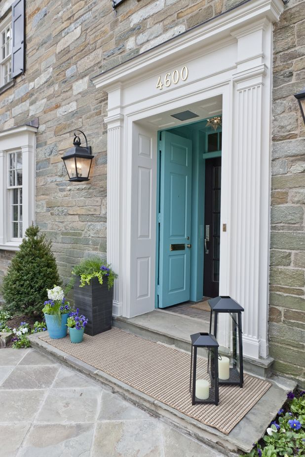 A Bright Front Door Entrance Framing Lanterns And New House Numbers Make All The Difference
