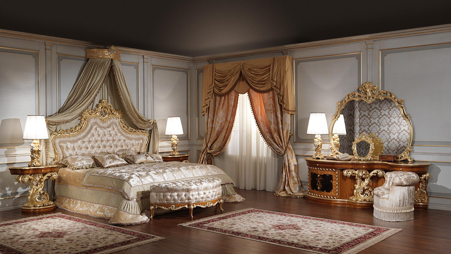Classic Bedroom Roman Baroque Style Vimercati Furniture Set Solid Wood Bed Luxury Wall MirrorsMedieval BedroomNight