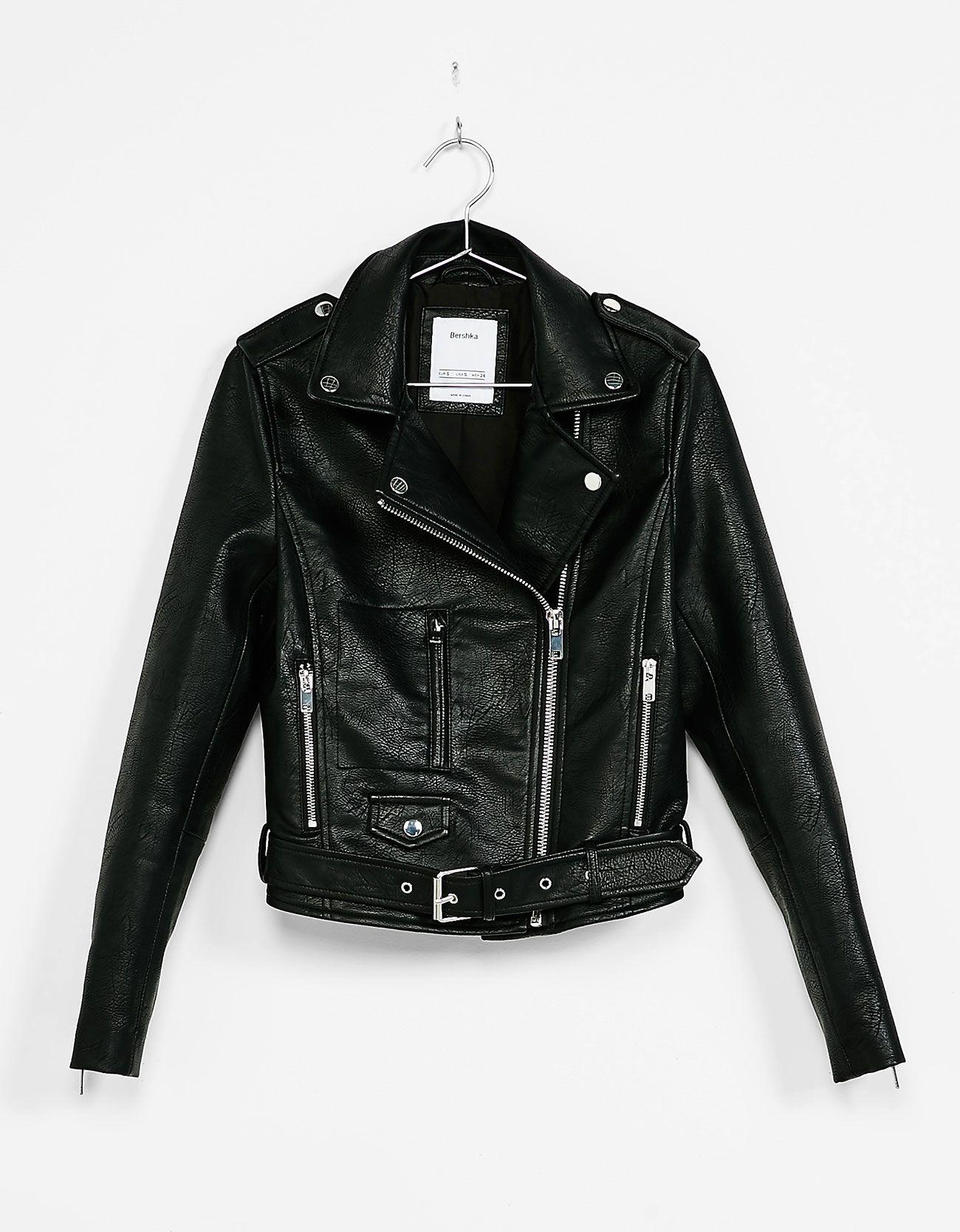 estilo popular vívido y de gran estilo calidad autentica Cazadora biker efecto piel | Cazadora bershka, Moda bershka ...