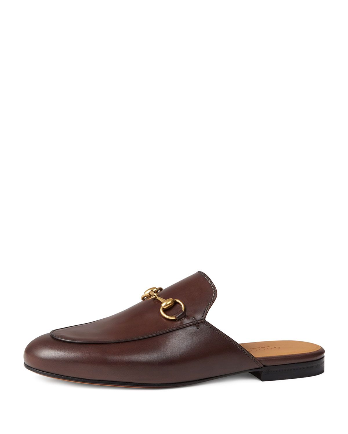 369681cb4 Gucci Princetown Leather Horsebit Mule Slipper Flat, Brown, Size:  39.0B/9.0B, Fondente Brown
