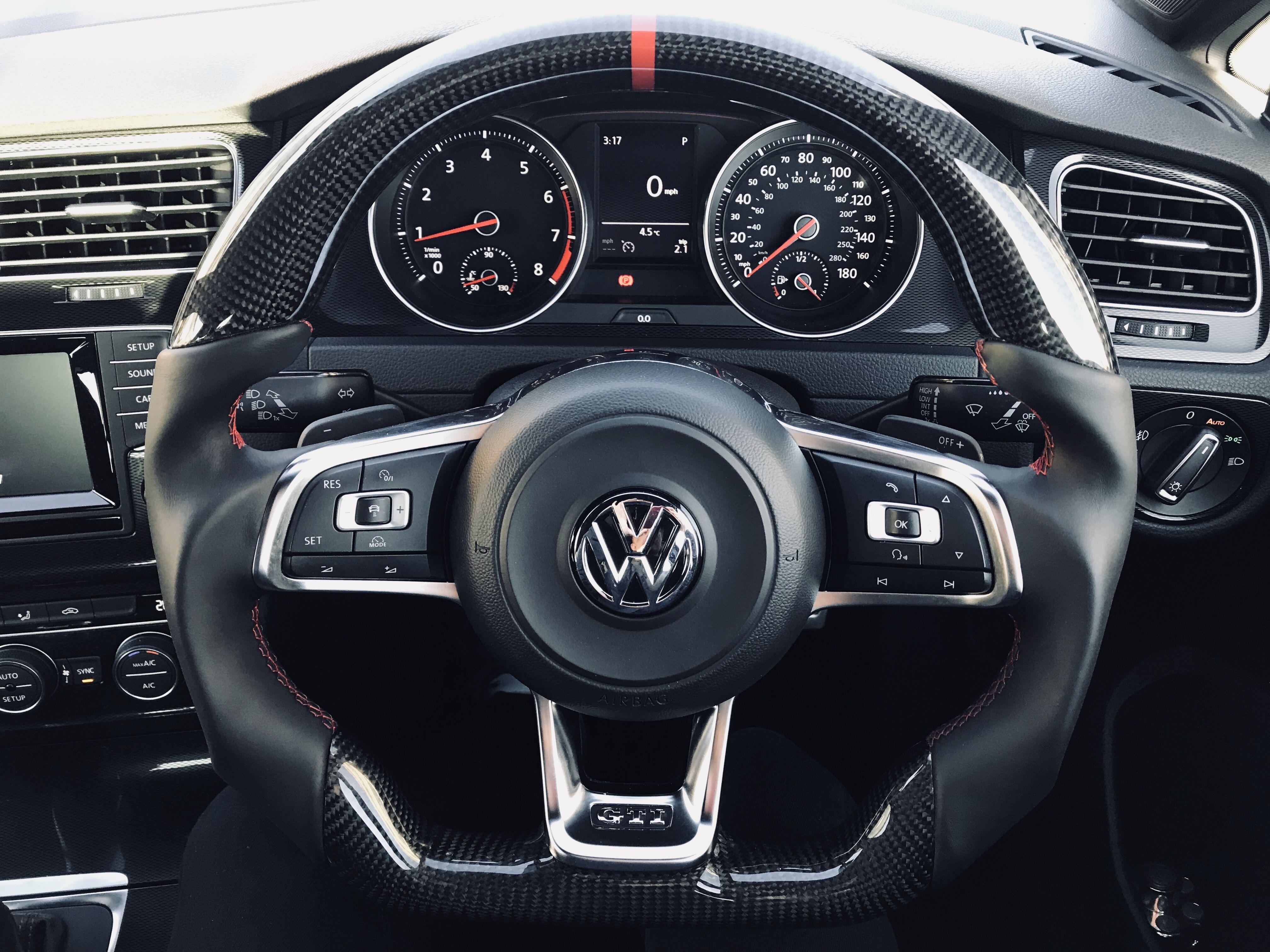 Vw Golf 7 Gti Custom Steering Wheel Carbon Fibre Full Reshape Nappa Leather Red Ring At 12 O Clock And Stit Volkswagen Golf Volkswagen Volkswagen Scirocco