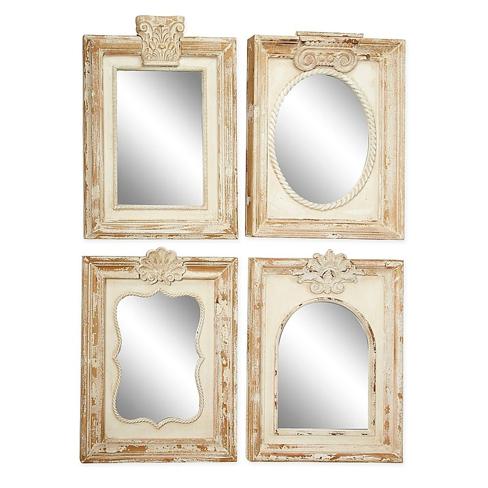 Uma Wood Framed 18 Inch X 25 Inch Rectangular Wall Mirrors Set Of 4 Bed Bath Beyond In 2021 Wall Mirrors Set Framed Mirror Wall Wood Wall Mirror
