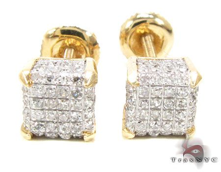 Yg Cube Earrings Mens Diamond
