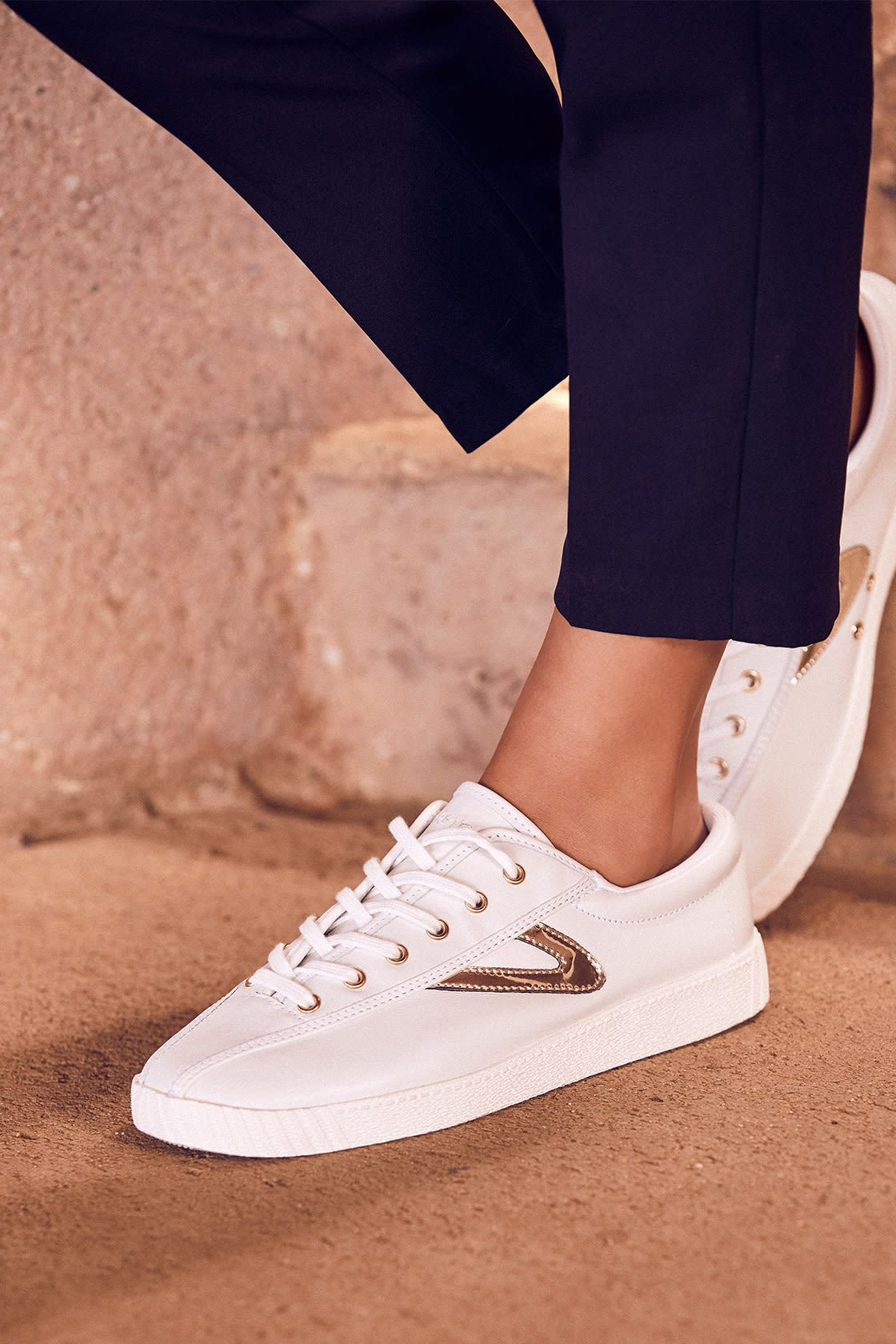 Leather sneakers, Gold leather