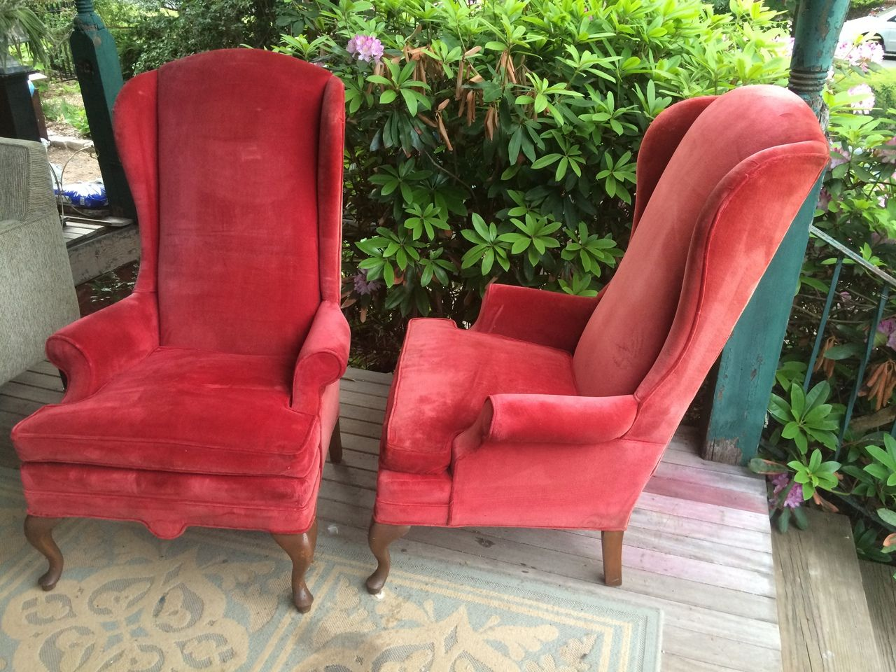 Pair Of Vintage Red Velvet High Back Queen Anne Arm Chairs