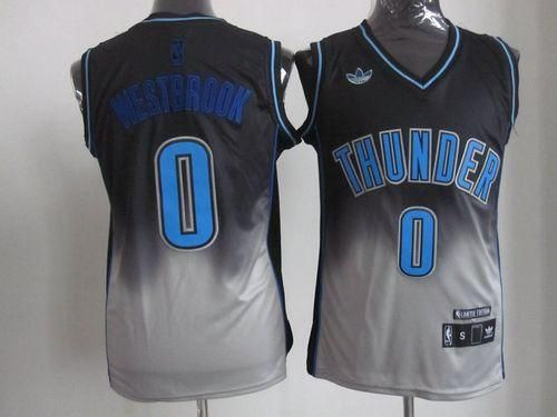 Thunder  0 Russell Westbrook Black Grey Fadeaway Fashion Stitched NBA Jersey 79ee543a0