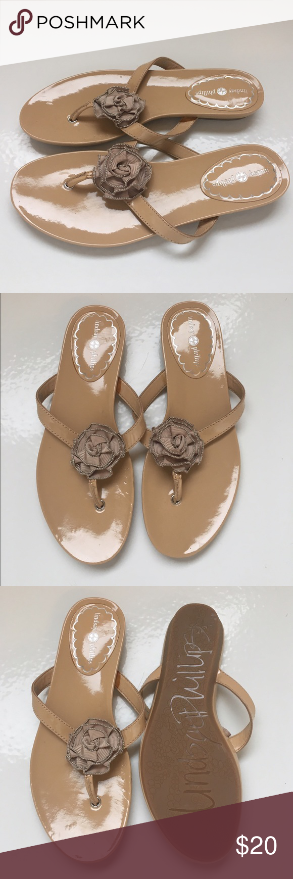 Ladies Lindsay Phillips patent sandals sz 8 Super cute ladies Lindsay Phillips tan patent leather sandals size 8. These are new, never worn. Snap on bow with beading. Slight indent on one shoe, doesn't effect looks or feel. Lindsay Phillips Shoes Sandals