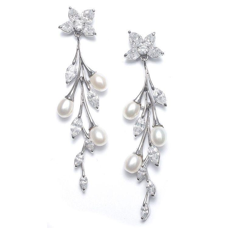 Boucles d'oreilles mariage perle et diamente Elegance