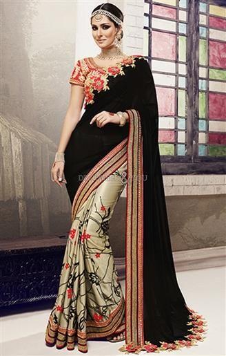 aef207a438350 Red Art Silk Blouse Black N Beige Chiffon N Georgette Half Saree   Traditional  HalfSareeOnline  SareeFashion  HalfSareeDesigns  Embroidered   Beautiful ...
