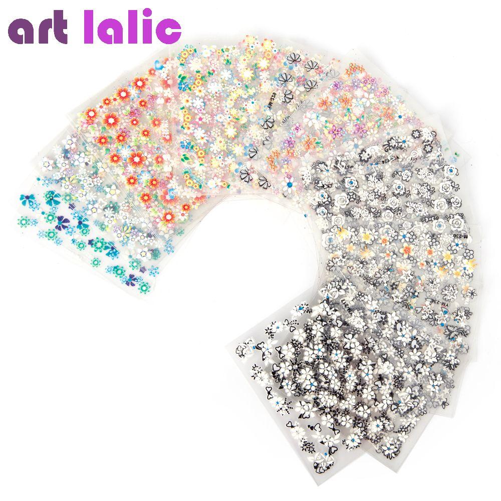 50 Blatt 3d Nail art Aufkleber Decals Qualität Mix Farbe Blumen ...
