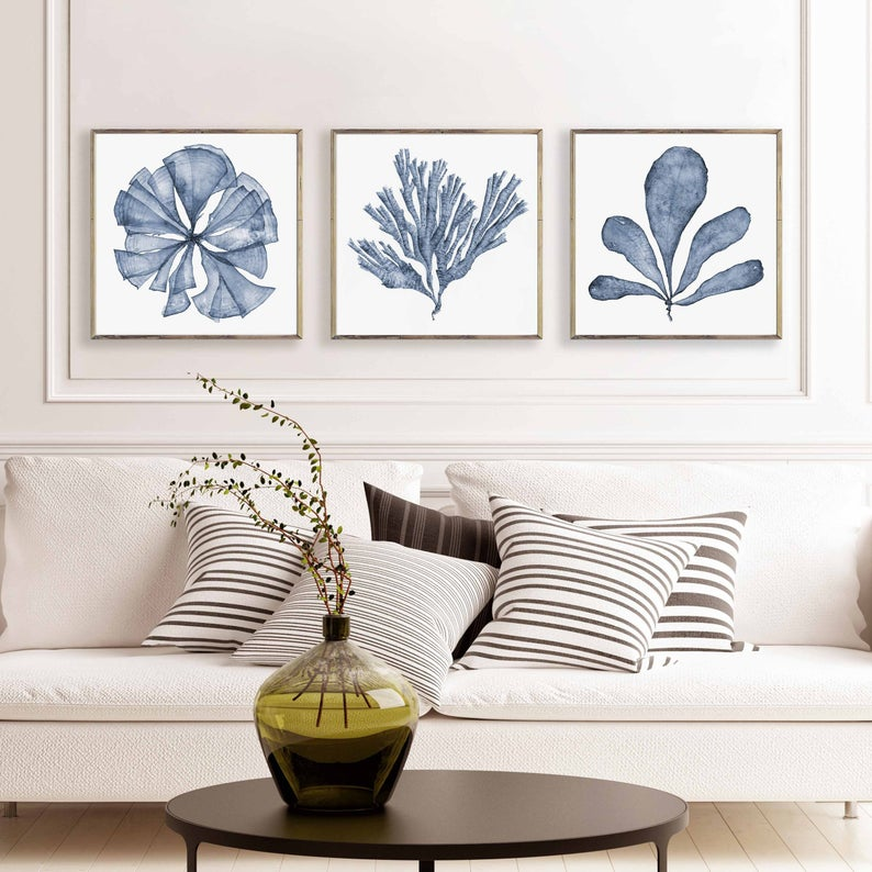 Art Printable Set Of 3 Square Downloadable Prints Navy Blue Etsy In 2021 Wall Sets Coastal