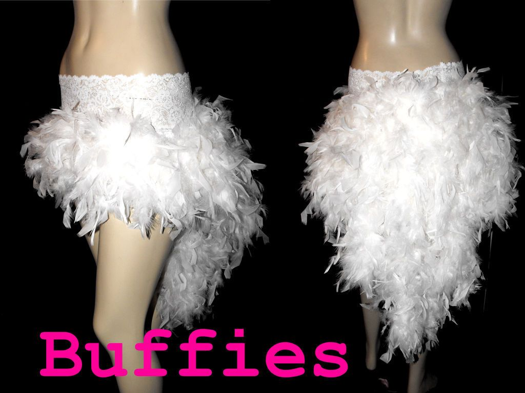 Burlesque Moulin Rouge White Feather Bustle Skirt Black Pink Red Size In Clothes Womens Clothing Skirts
