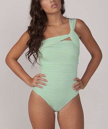 76956024e9 Why so expensive cute bathing suit!  Look what I found on  zulily! Seafoam  Cleo Asymmetrical One-Piece by 1 Sol Swim  zulilyfinds