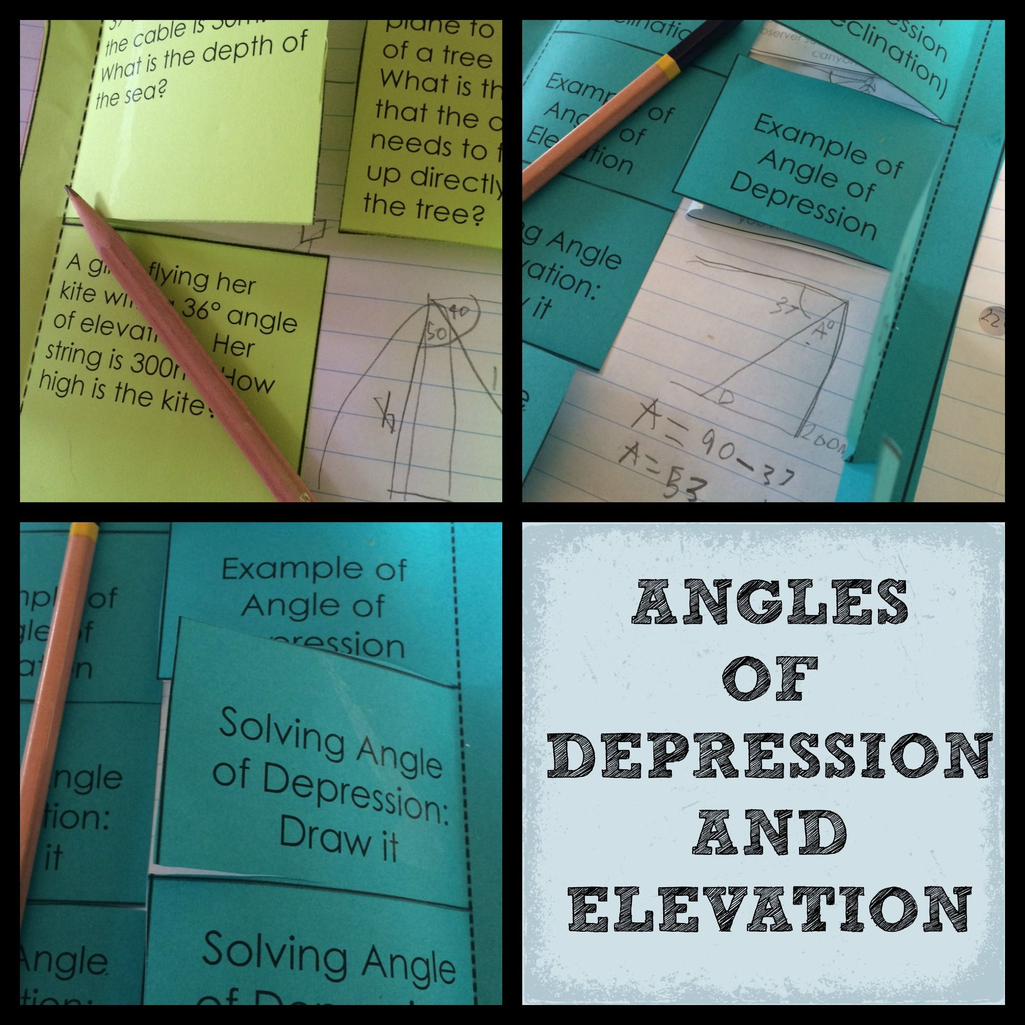 Angle Of Elevation Lesson Plan : Angles of depression and elevation color interactive