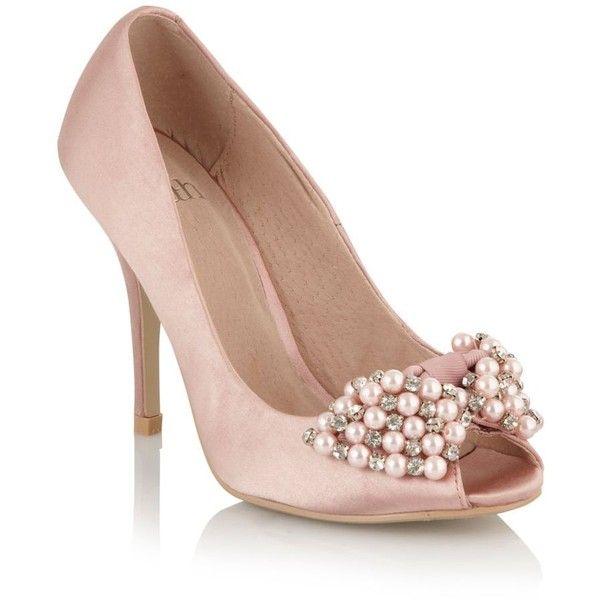Pale pink pearl and crystal peep toe