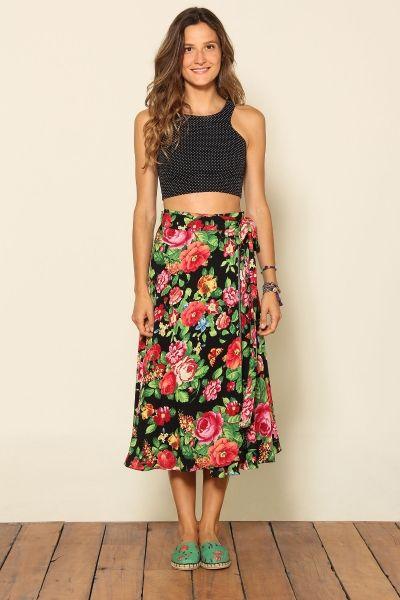 8ad0ab12d saia transpassada | Verão em 2019 | Fashion outfits, Fashion e Skirt ...