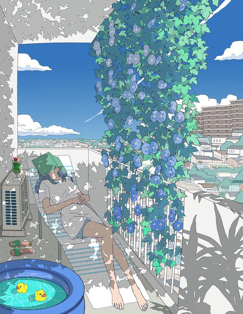 aesthetic anime school background outside