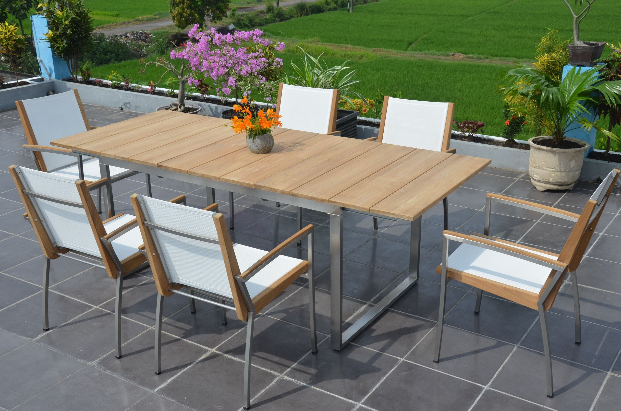 Uv Light Mould And Mildew Resistant All Weather Teak Strong Premium Quality Teak Amp Stainless Ste Dining Set Outdoor Furniture Sets Outdoor Dining Table