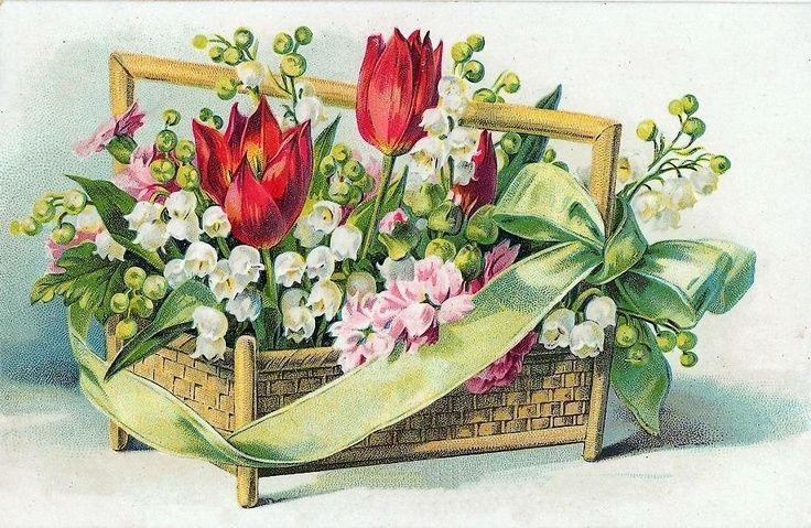 Советские открытки цветы в корзине очень подробный