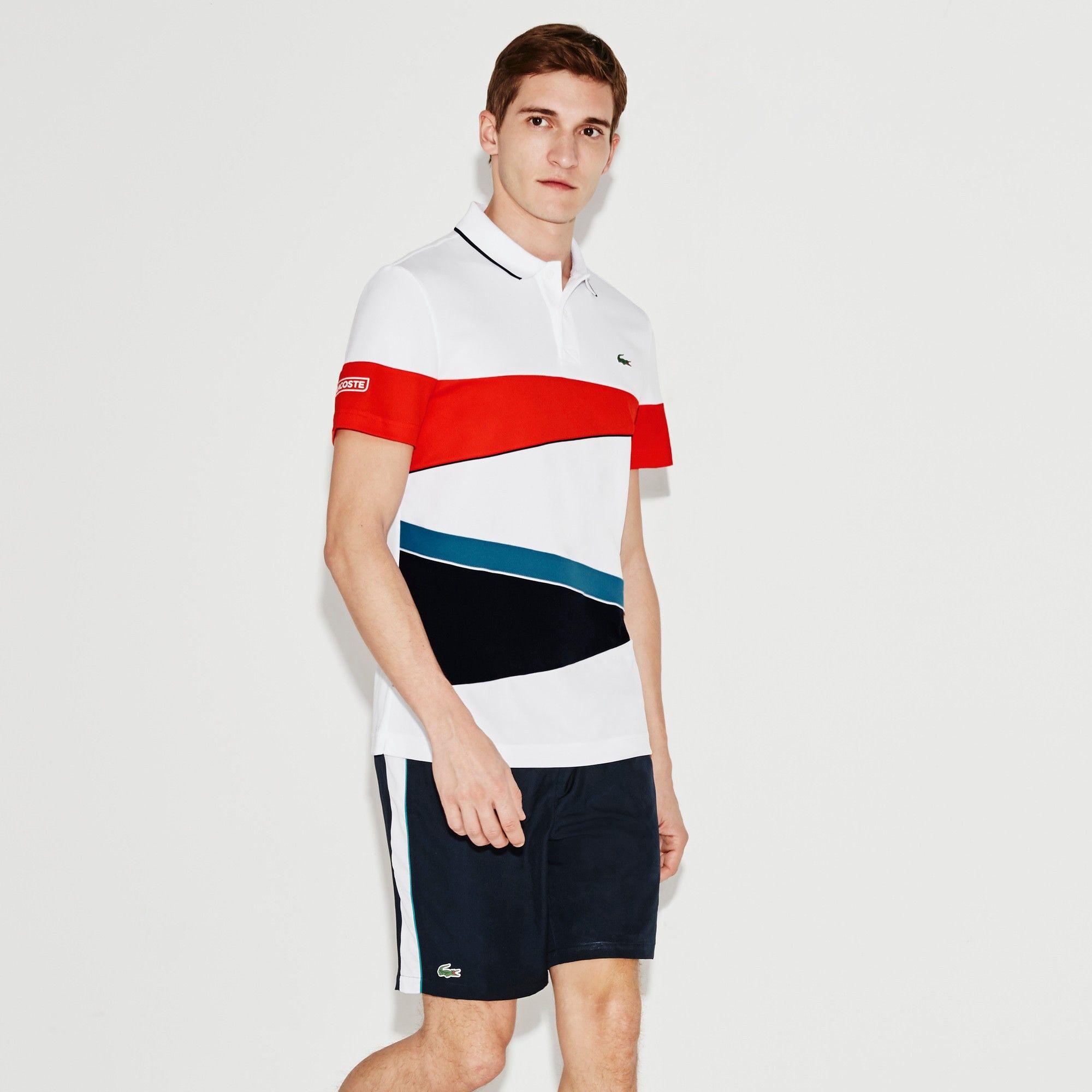 497b8266 LACOSTE Men's SPORT Piqué Tennis Polo Shirt - white/etna red-navy ...