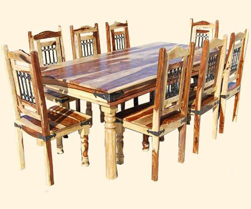Ebay Dining Room Tables And Chairs Rustic 9Pc Dining Room Table Chairs Set Furniture W Wrought Iron
