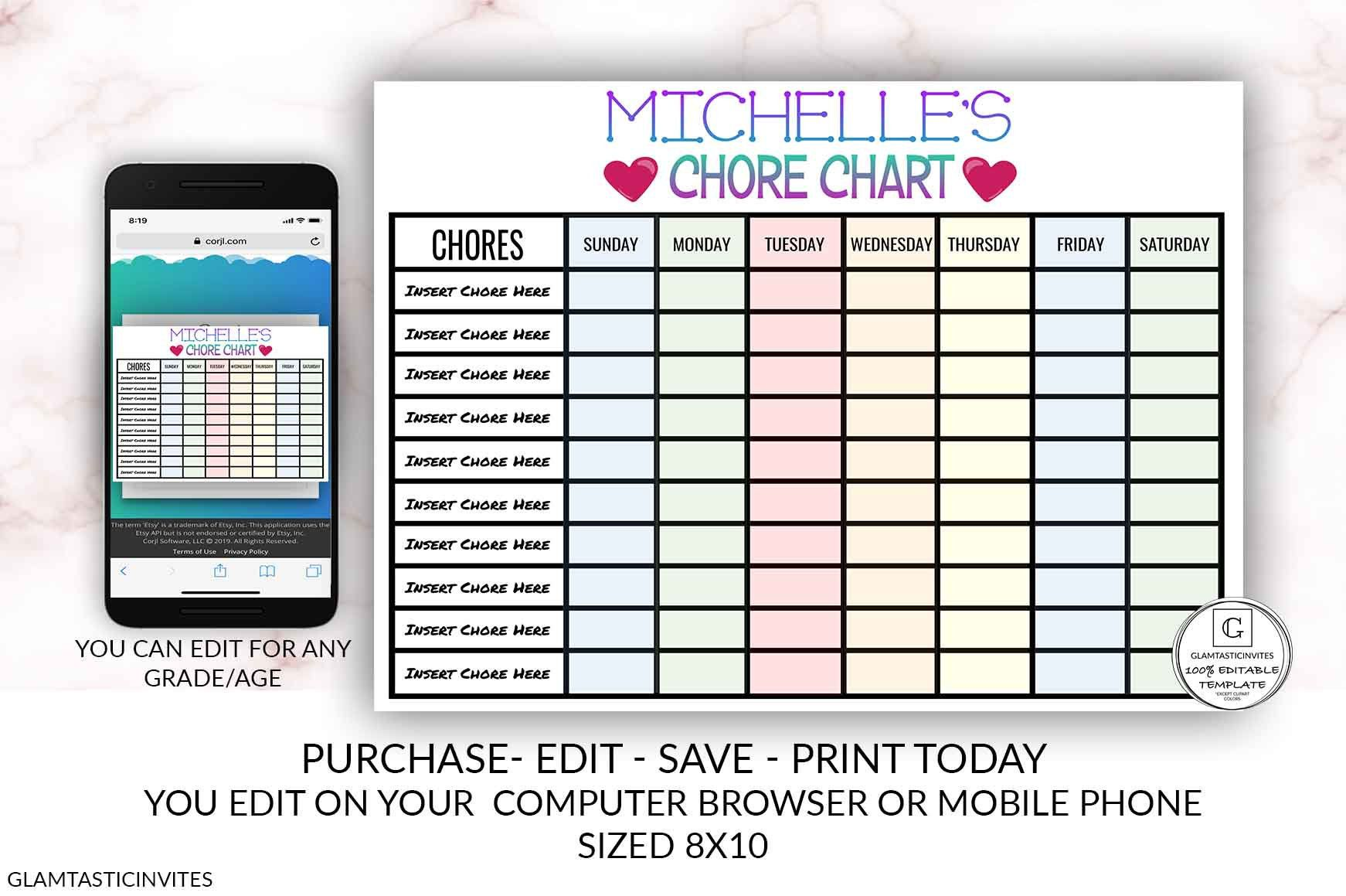 Editable Girl Chore Chart Schedule Printable Template You