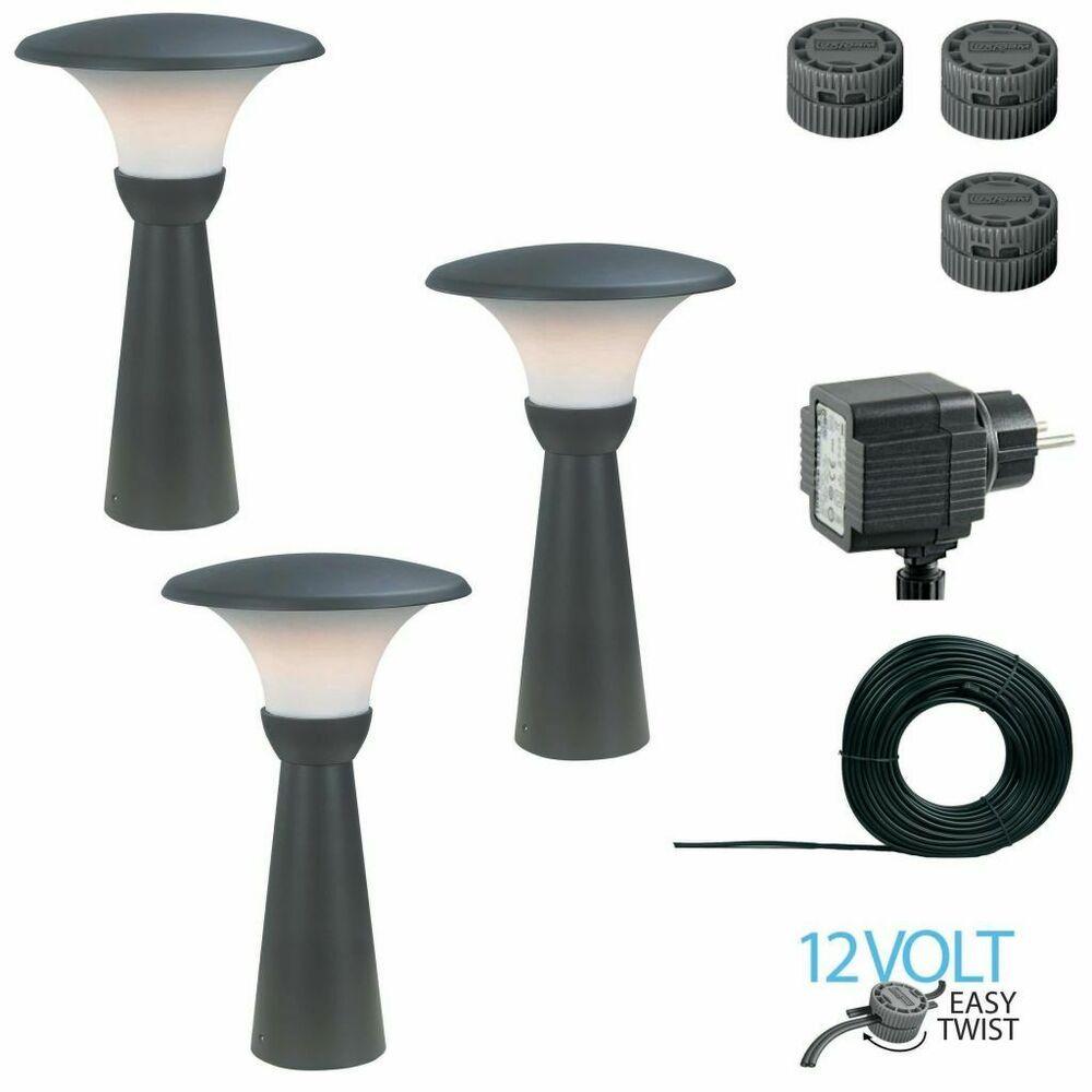 Luxform 3x Borne D Eclairage Melville 12 V 60 Cm Anthracite Luminaire Lampe Lamp Luminaire Lampes Solaires