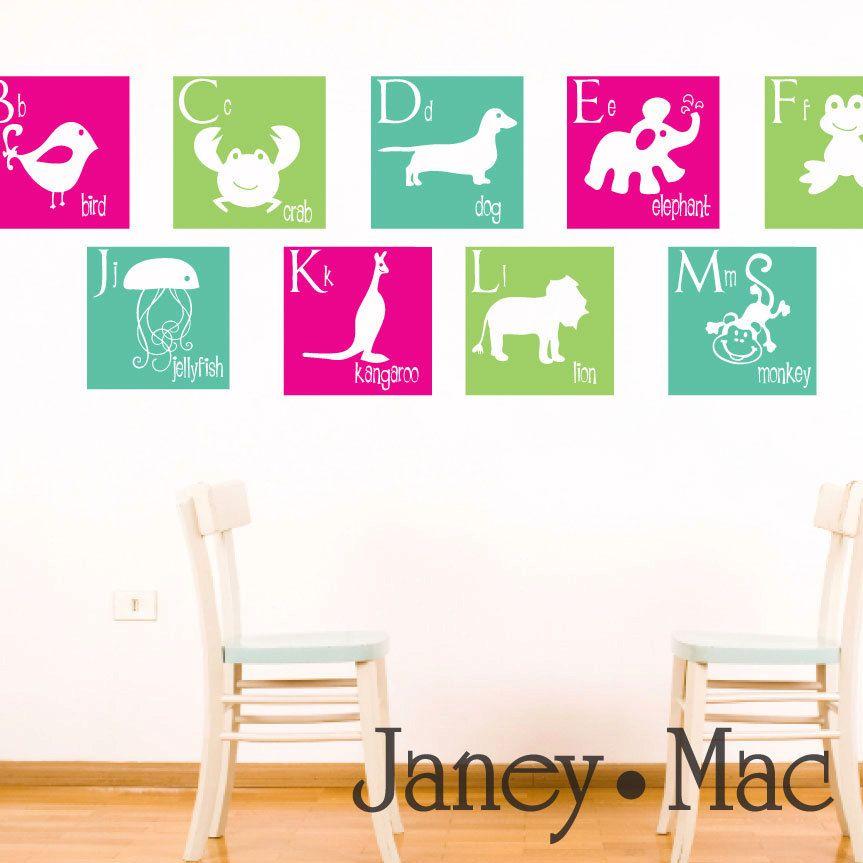 Animal Alphabet Wall Decal - Squares A to Z - Dog Giraffe ...