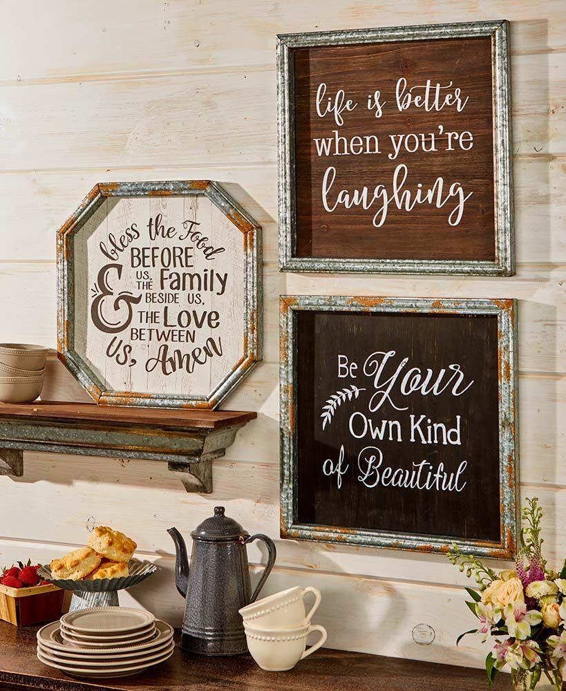 Galvanized Metal Framed Country Wall Art Country Wall Art Country House Decor Galvanized Metal