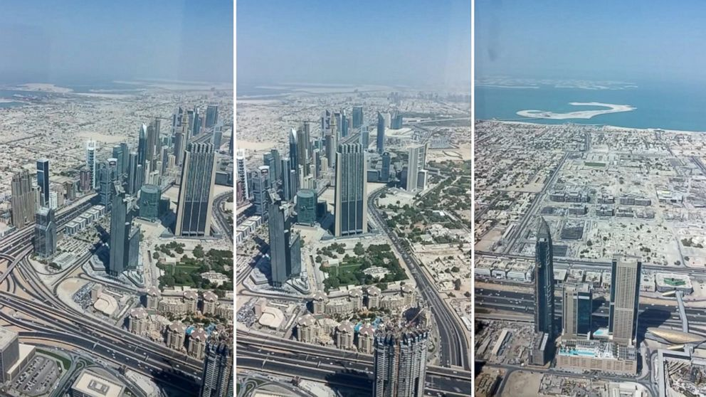 """PHOTO: Several screen grabs from the video, """"Burj Khalifa - view from 148th floor"""" by Parag Deulgaonkar show the view from the new highest observation deck in the world at the Burj Khalifa in Dubai."""