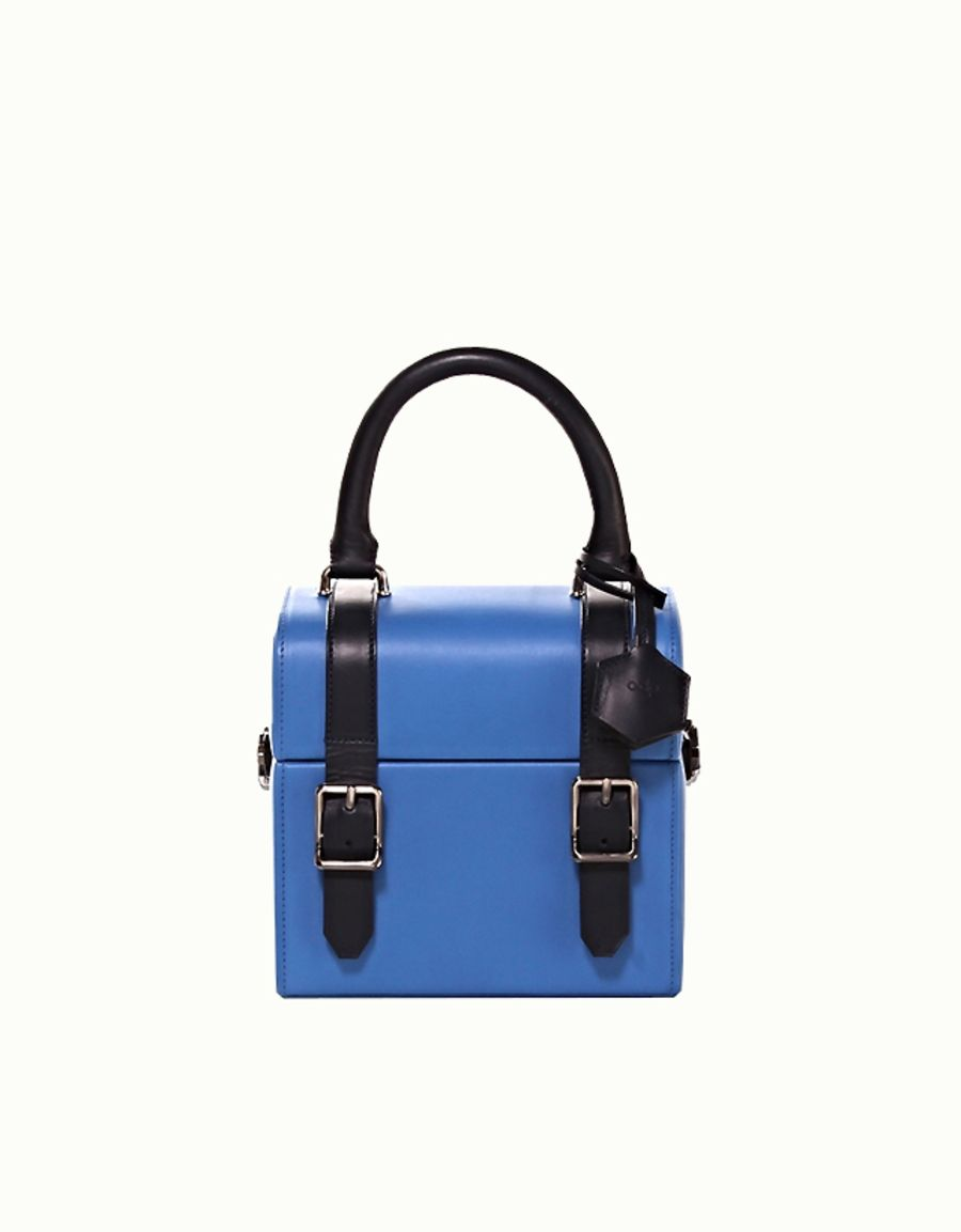 Shop the Blue Leather Mini Box Bag made in Italy by Officina del Poggio on…