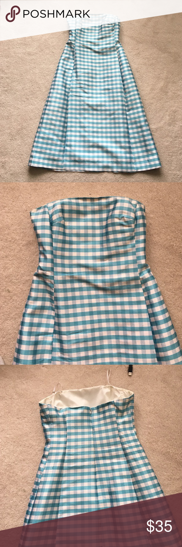 RL silk shantung dress Beautiful gingham check turquoise and white Ralph Lauren strapless silk tea length  dress. Only worn 2x - sadly too small. Interior shelf bra - excellent condition. Ralph Lauren Dresses Strapless