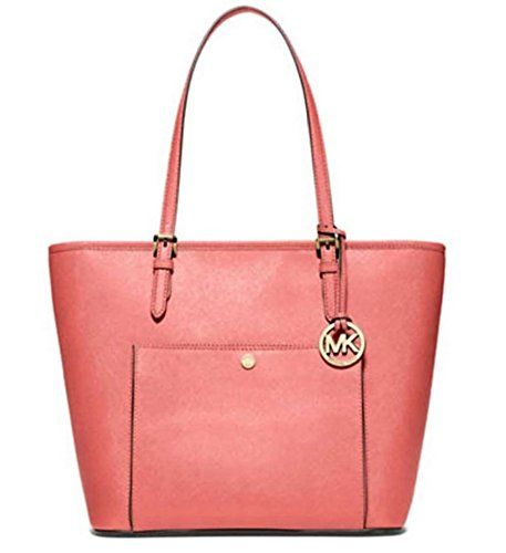 4f6bd52c100b MICHAEL MICHAEL KORS Jet Set Large Saffiano Leather Tote Pink Grapefruit --  For more information, visit image link. (This is an Amazon affiliate link)