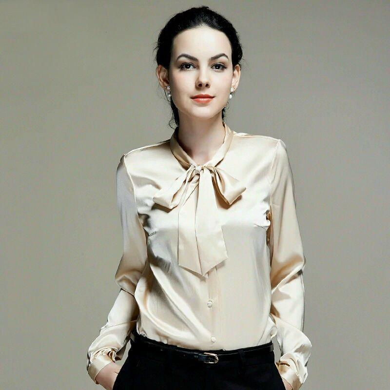 Pure Mulberry Silk Blouse Women Long Sleeve Work Brand Solid Bow Blusas Femininas Office Lady Stretch Jpg 800 800