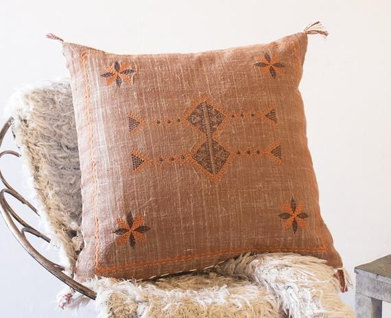 Modern Cactus silk cushion, Boho Living Room Pillow, Rust Orange Cushion Cover, Handmade Pillows, Em
