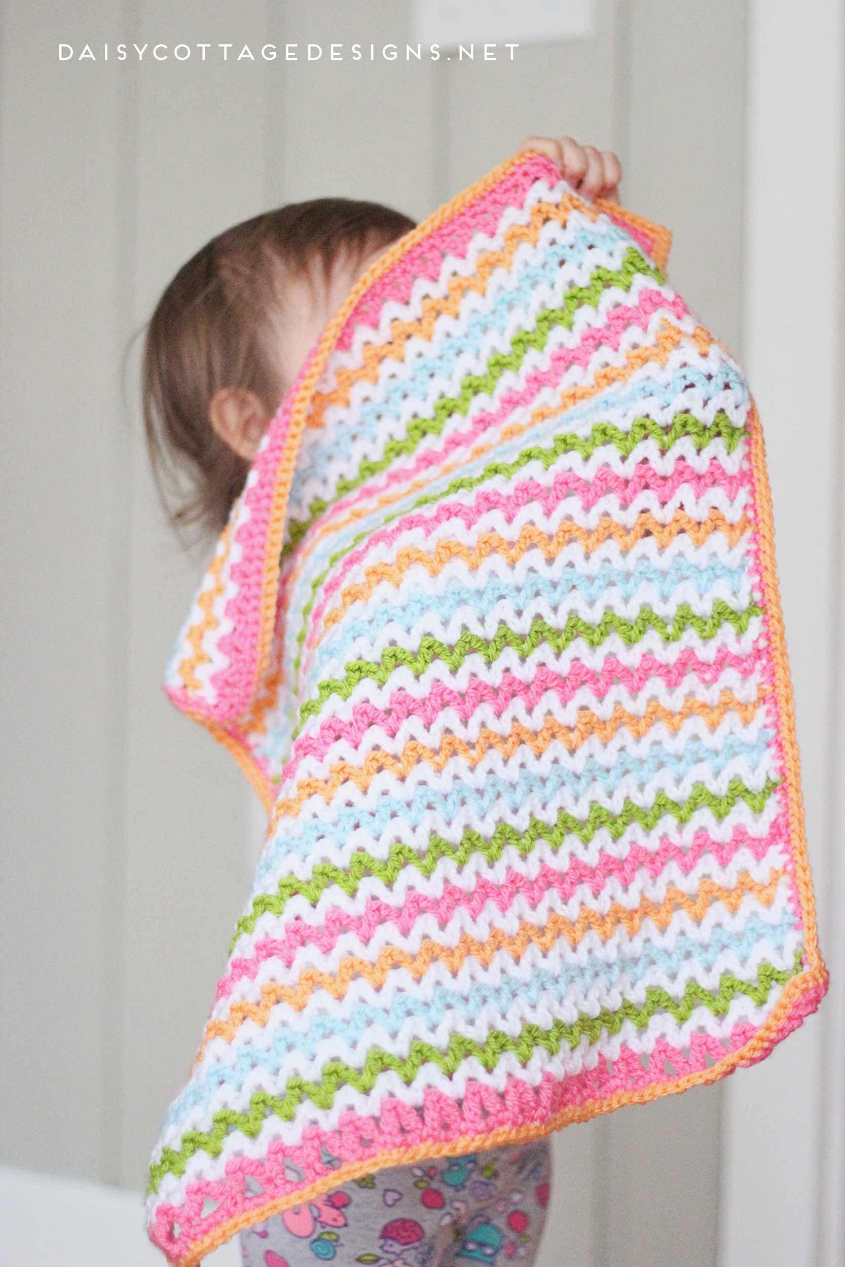Pretty V-Stitch Blanket Crochet Pattern   Pinterest   Tejido