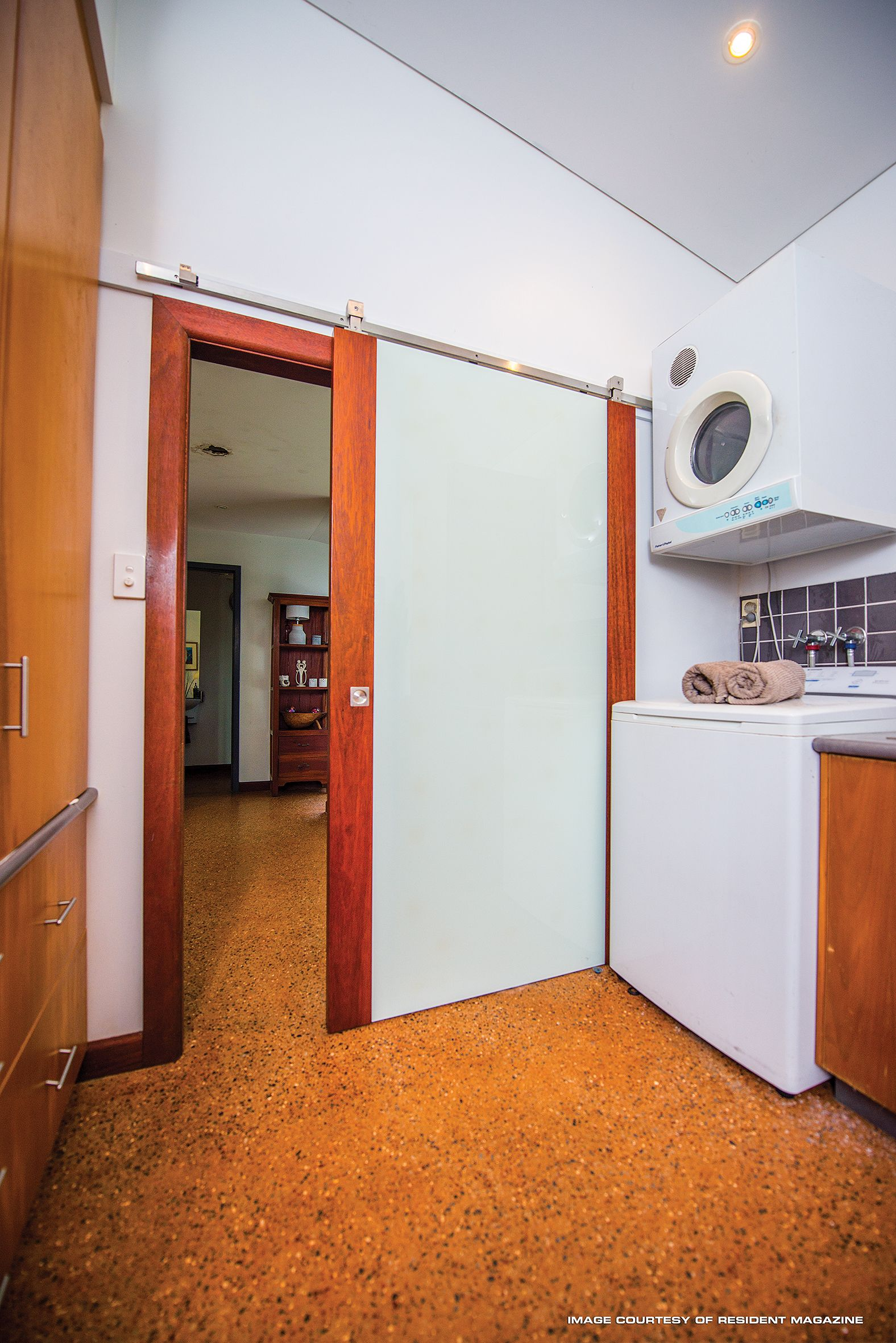 This Image Shows The Top Hung Sliding Door From The Laundry Looking