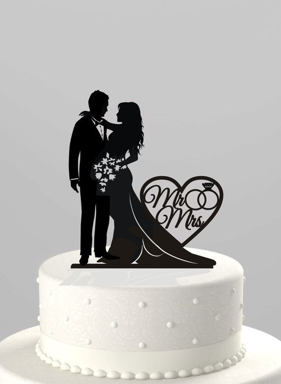 Ships NEXT Day Wedding Cake Topper Silhouette By TrueloveAffair
