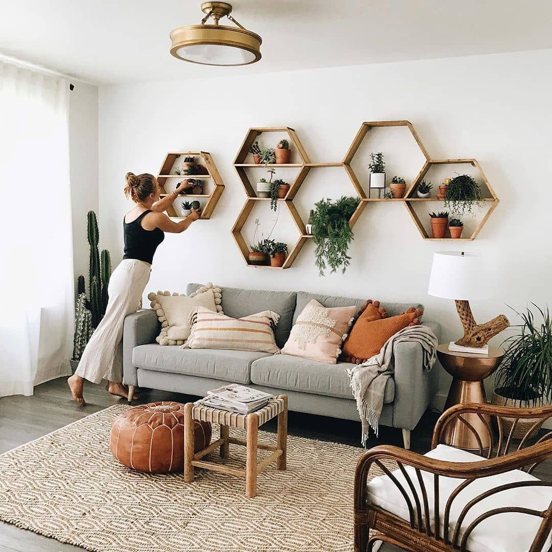 Bohemian interior Decor on Instagram Available on  These honey comb hexagon shelves are just the decor you need to complete your interior decor link Click the  Bohemian i...