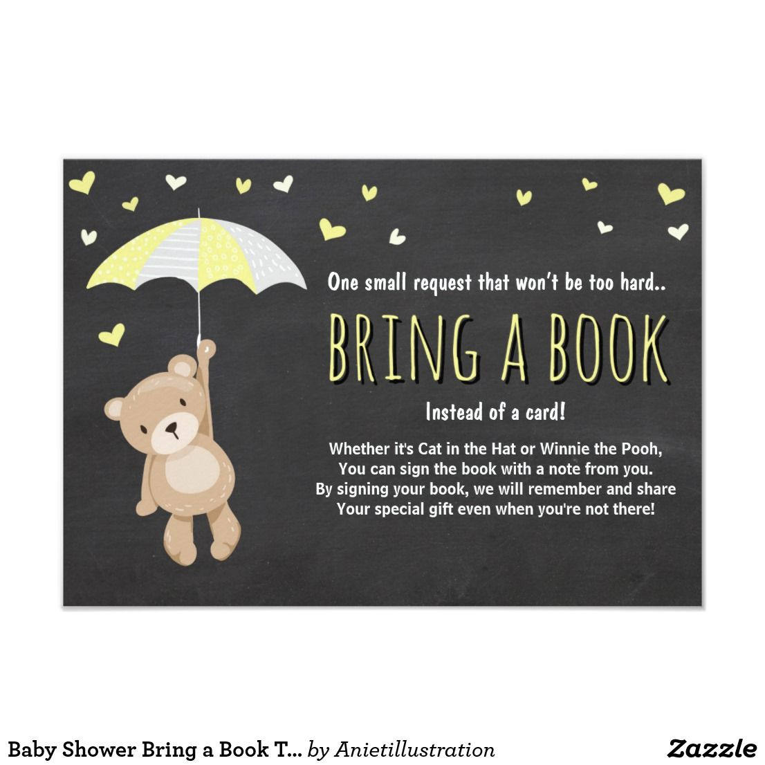 Baby shower bring a book teddy bear yellow neutral card a perfect