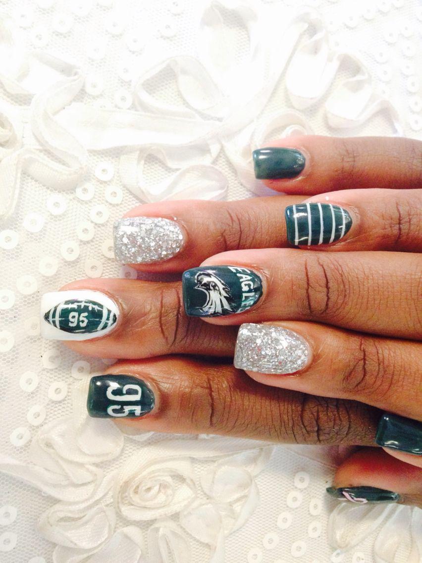 Philadelphia Eagles Nail Art | Nails | Pinterest | Makeup, Football ...