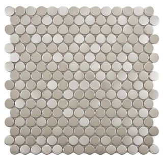 Decorative Wall Tiles Somertile 1175 X 1175Inch Penny Stainless Steel Over Porcelain