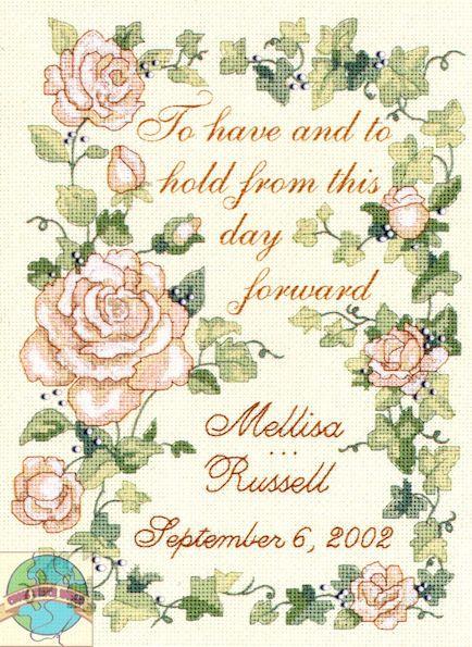 dimensions delicate floral wedding record cross stitch world