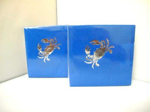 Blue 3ply napkins printed with metallic silver crab (pk of 25) or white crab (not shown)