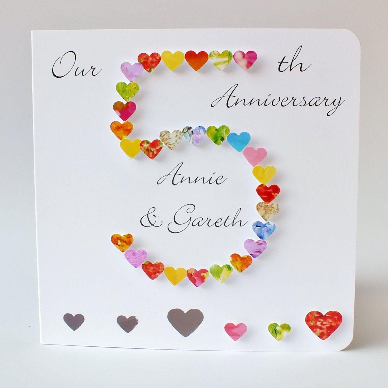 5th wedding anniversary 5th Wedding Anniversary Card Personalised 5th Anniversary Card Handmade 3D Husband Wife 5 Wedding Anniversary Fifth BHAN05