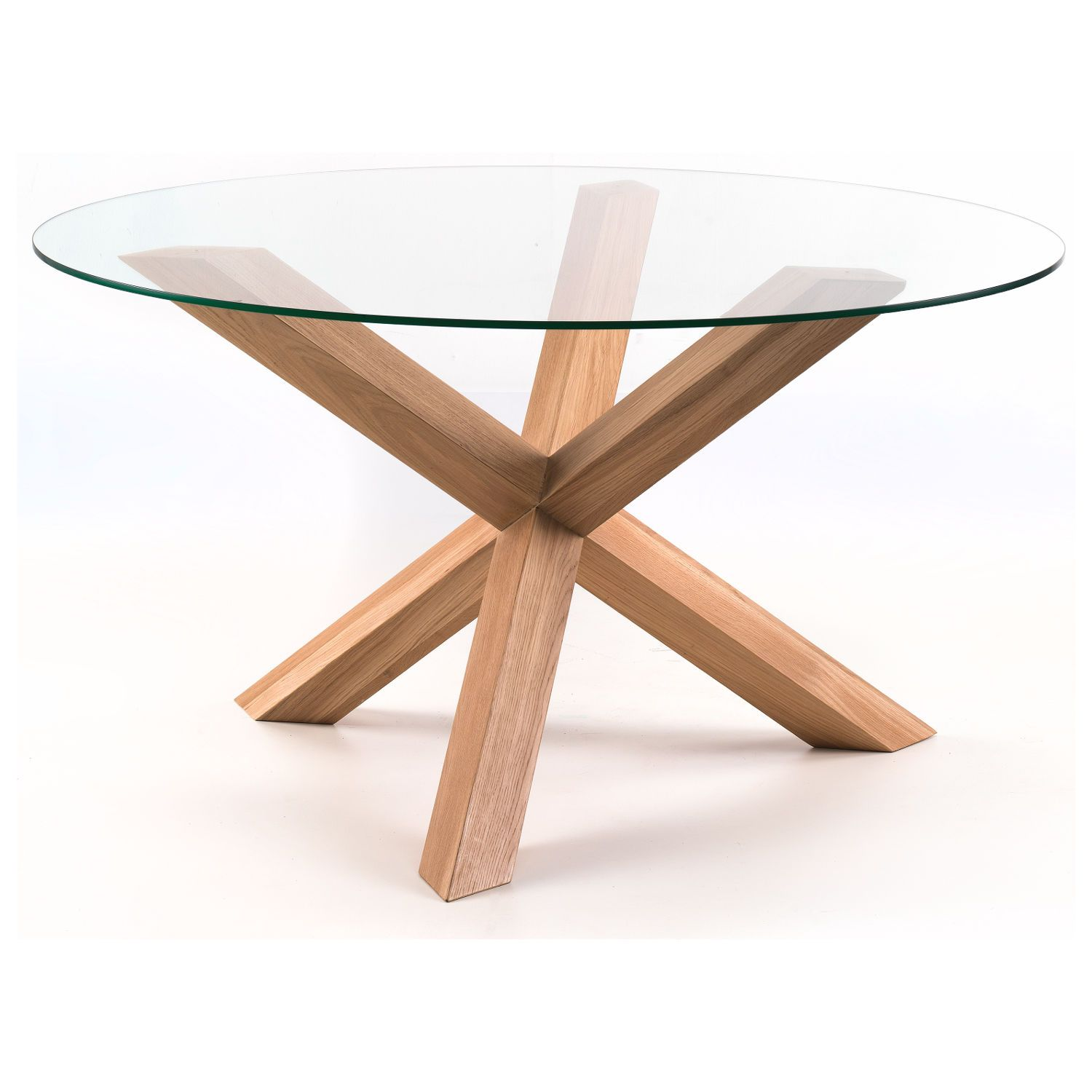 Tfw 138cm Round Glass Dining Table With Oak Pedestal Next Day