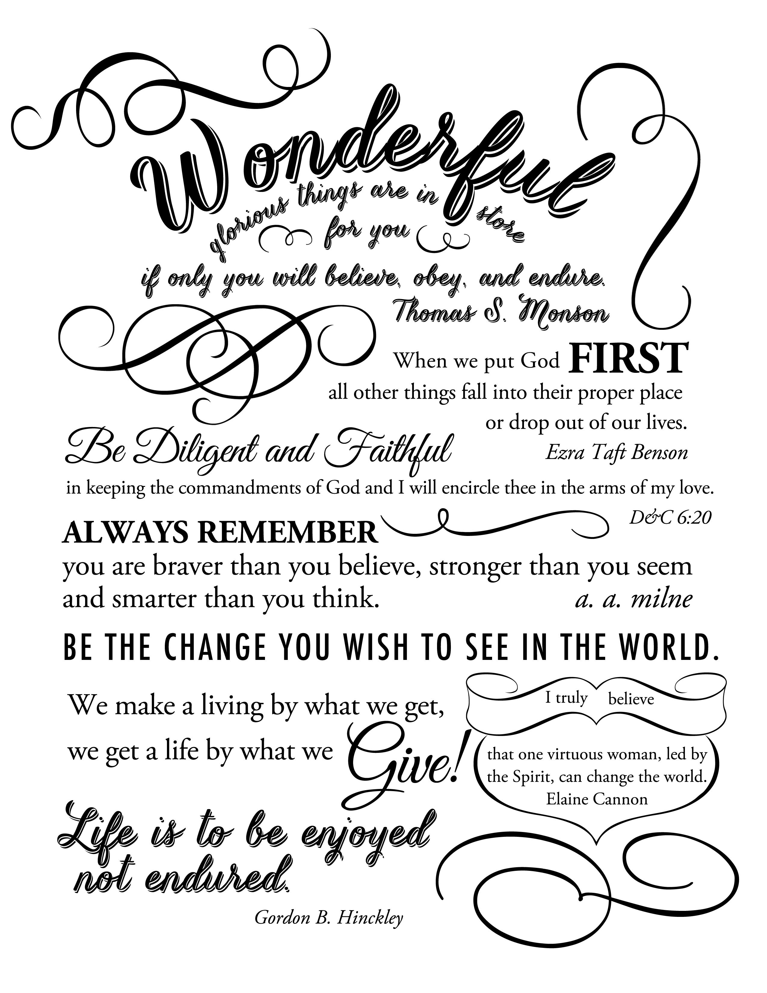 lds printable quotes Google Search High school