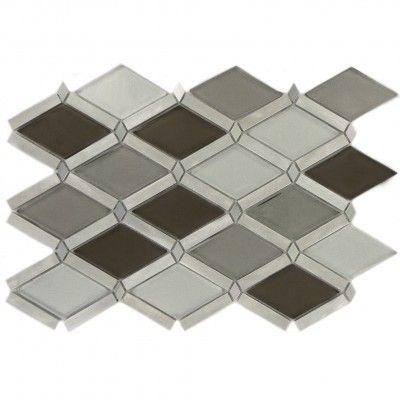 Silver Quill Diamond Silver Brushed Aluminum Glass Tile Diamond Tile Glass Tile Metal Tile