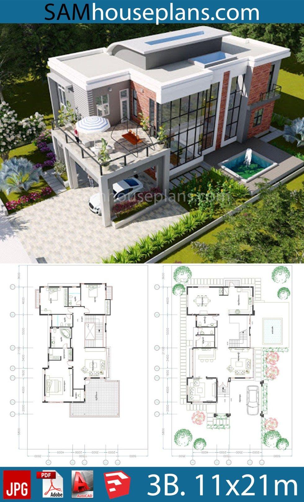 House Plans 11 5x21 1m With 3 Bedrooms Sam House Plans Architecture Model House Modern Villa Design Sims House Plans